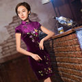 TIC-TEC chinese cheongsam short qipao women velvet red embroidery tradicional elegant party oriental dresses clothes P3069