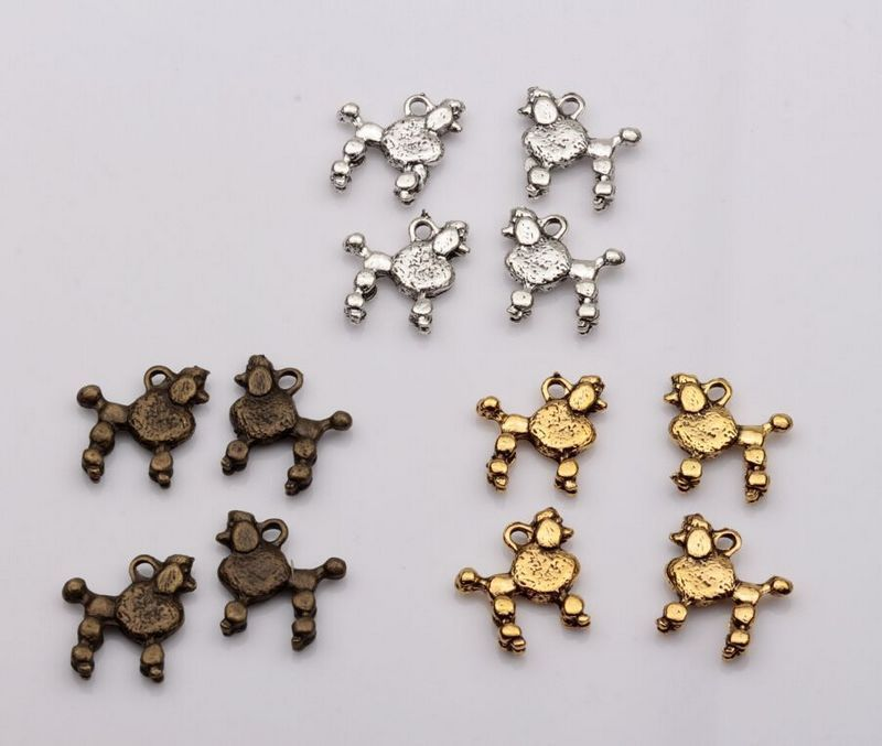 MIC  30pcs Antique Silver / Gold Bronze Dog Charms pendants DIY Jewelry 15 x14mm za391