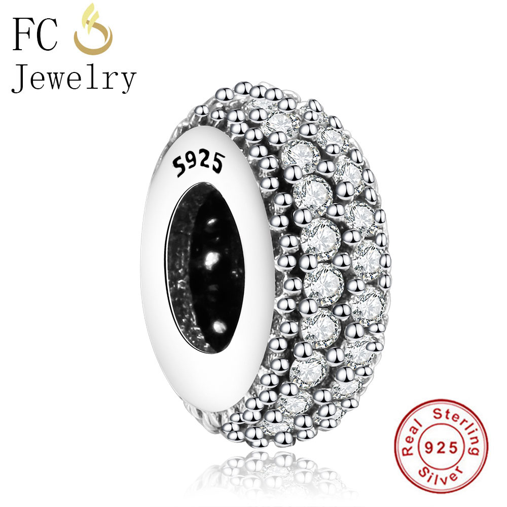FC Jewelry 925 Sterling Silver Eternity Vintage Spacer Beads Fits Original Pandora Charms Bracelet Making DIY Berloque Gifts strollgirl car keys 100% sterling silver charm beads fit pandora charms silver 925 original bracelet pendant diy jewelry making