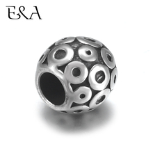 4pcs Stainless Steel Round Bead Charms 5mm Hole for Leather Jewelry Bracelet Making Metal European Beads DIY Supplies Parts