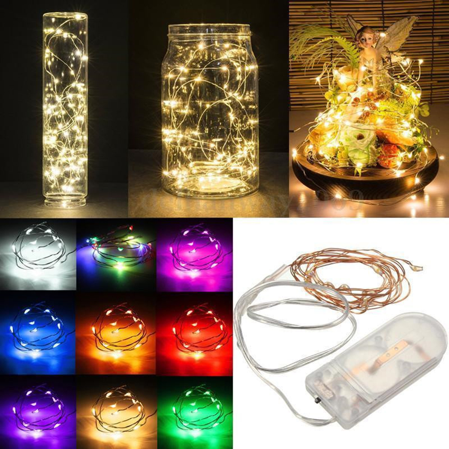 Silver LED String Garland Light 2M 20LEDs Mini Decorative Lights For Bebroom Flower Winding Lamp CR2032 Button Battery Operated