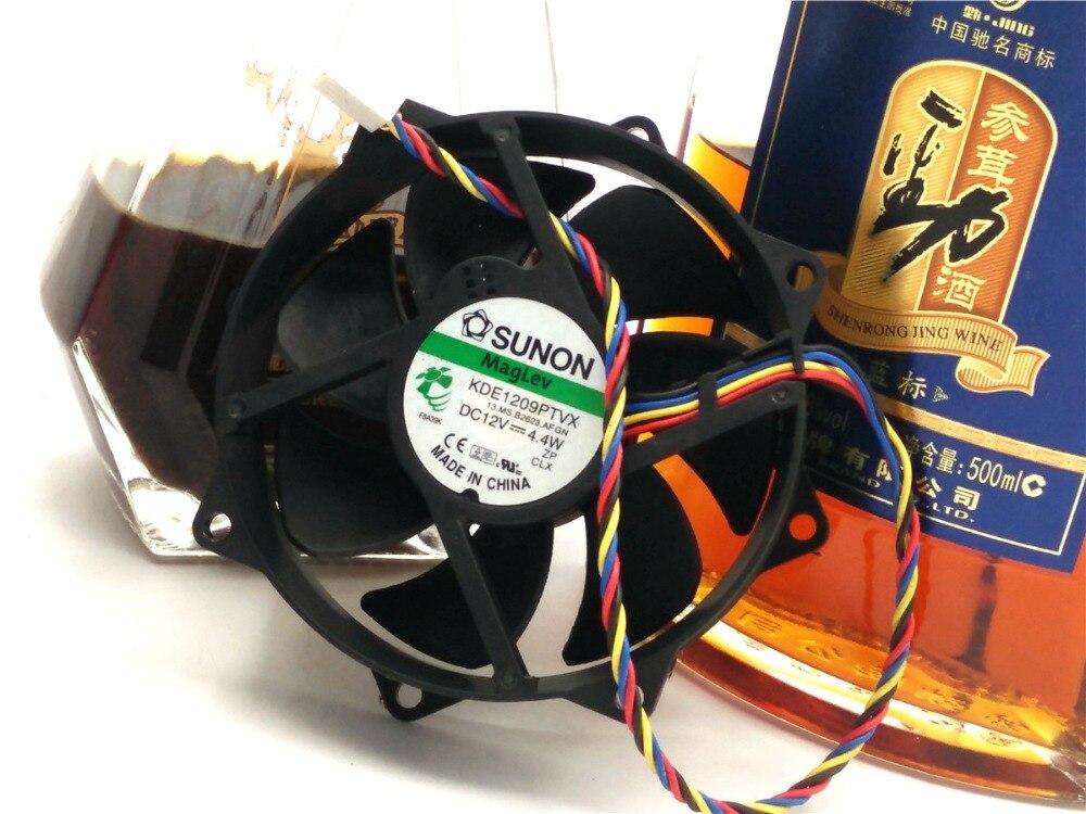 Original SUNON KDE1209PTVX 12V 4.4W 9CM 9225 4 wire round the CPU fan
