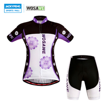 WOSAWE Summer Women Short Sleeve Cycling Jerseys + 4D Gel Pad Shorts Set Quick-Dry Bicycle Sport wear Bike Shorts Clothing Suit