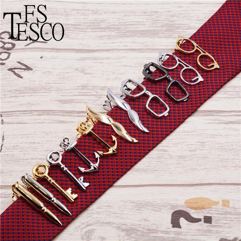 543c7a072967e 6 estilos Gravata Clipe Bala Pena Óculos Bigode Âncora Chave forma de Metal  Tie Clip para Homens Óculos Clipes de Gravata Comercial Pin