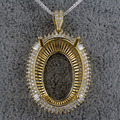 Mulheres Semi Montar Configurações Pingente Oval 18x26mm Baguette Diamantes 14 K Ouro Amarelo SR002