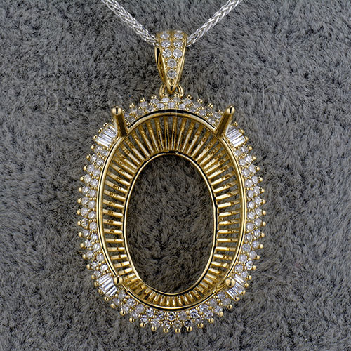 Oval 18x26mm women semi mount pendant settings baguette diamonds in oval 18x26mm women semi mount pendant settings baguette diamonds in 14k yellow gold sr002 aloadofball Choice Image