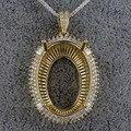Oval 18x26mm Women Semi Mount Pendant Settings Baguette Diamonds In 14K Yellow Gold SR002