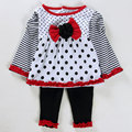Wholesale 4sets/lot Baby Girl Clothes Spring And Autumn Kids bowknot Long Sleeve Blouse And Pants Infant Clothing Set