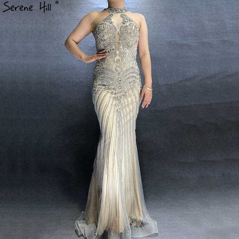 Sexy Illusion Back Grey Nude Sleeveless Evening Dresses 2019 Luxury Diamond Pearls Sexy Evening Gowns Real Photo BLA60778