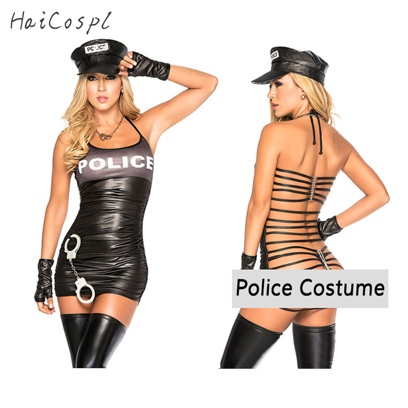 Halloween Party Sexy Cool Girl Black Police Costume Adult -1559