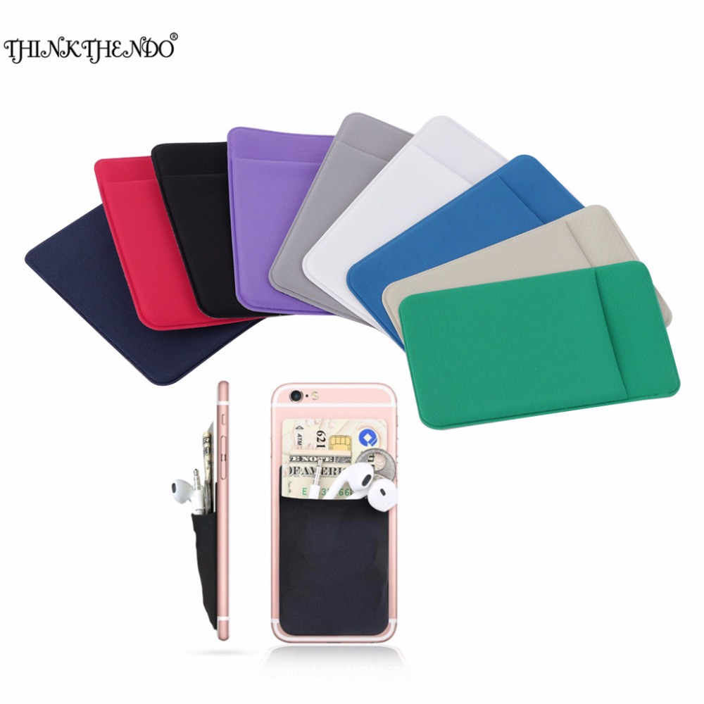 THINKTHENDO Hot Elastic Cell <font><b>Phone</b></font>/ Mobile <font><b>Phone</b></font> <font><b>Wallet</b></font> Case Credit ID Card Holder Pocket Adhesive <font><b>Sticker</b></font> 9 Color Fashion 2017