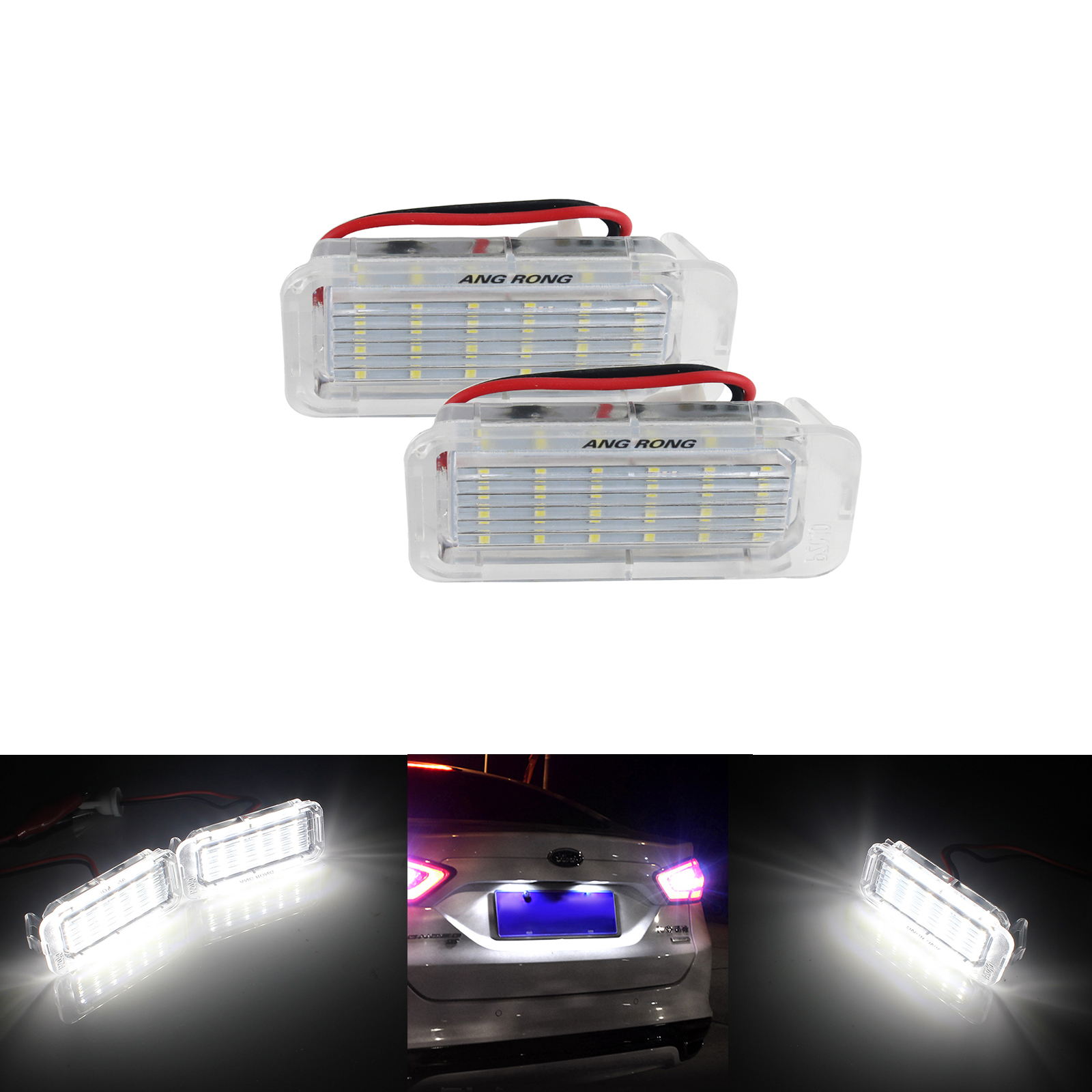 2 Licence Number Plate Light For Ford Fiesta Focus C-Max Kuga Mondeo Galaxy MK4