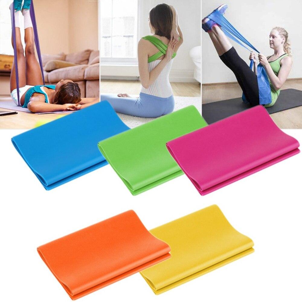 1.2 M Elastische Yoga Pilates Rubber Stretch Oefening Band Arm Terug Been Fitness Alle Dikte 0.35mm Dezelfde Weerstand