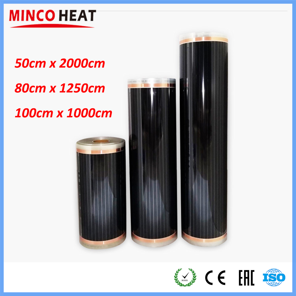 10m2/lot All Sizes 50cm 80cm 100cm Width Warm Floor Carbon Infrared Healthy Floor Heating Laminate Electric Heater Film