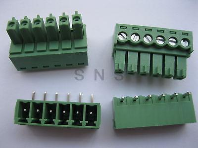 150 pcs Screw Terminal Block Connector 3.5mm Angle 6 pin Green Pluggable Type 2 pin 7 62mm pitch screw terminal block connectors green 20 piece pack