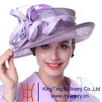 Kueeni Women Wedding Hat Church Outfits Purple Outfit Matching Suits Purple Color Feather Wide Brim Elegant