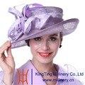 Kueeni mujeres boda sombrero iglesia trajes traje morado de coincidencia de Color púrpura pluma de ala ancha elegante de señora Party Dress sombrero