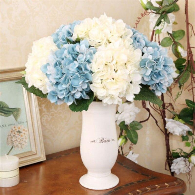1 unids Hogar Hortensia Flor de Seda de Flores Falsas Artificiales Hoja Artifici