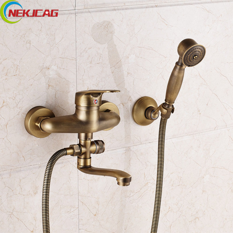 Wholesale And Retail Shower Set Wall Mounted Bathtub Sink Faucet Brass Mixer Tap + Handheld Shower Hand wholesale and retail wall mounted thermostatic valve mixer tap shower faucet 8 sprayer hand shower