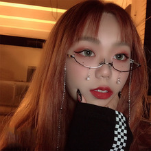 b1d95c752 2018 Slim No Lens Cat Glasses Frame Brand Designer Women Half Frame Red  Diamond Lensless Cat