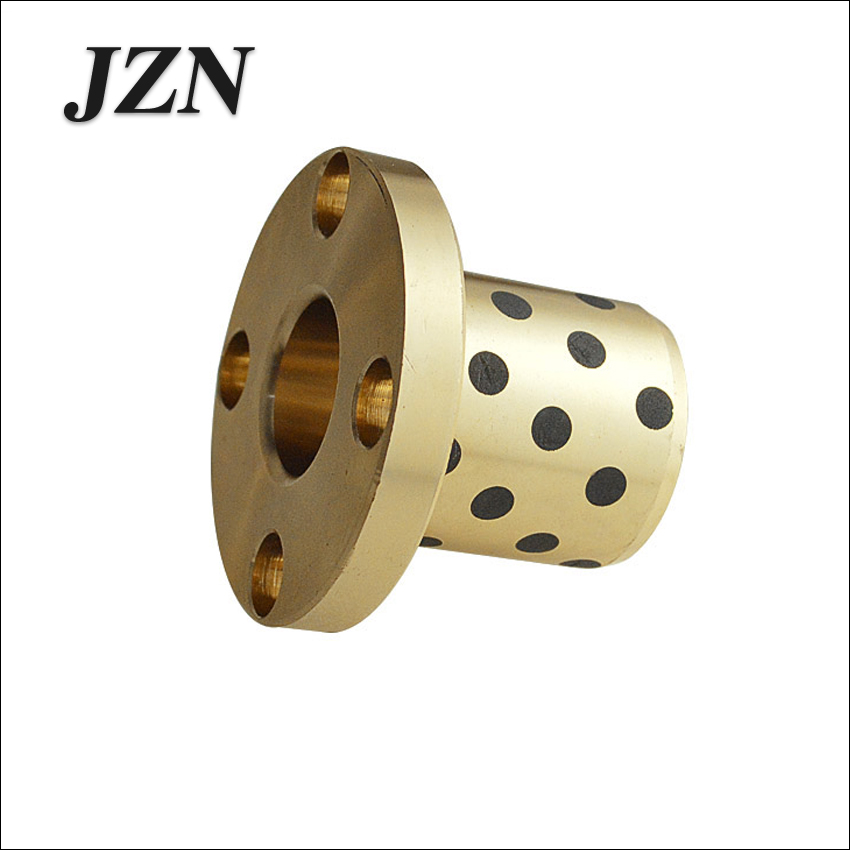 Buy JFB flanged bronze impregnated graphite oilless bush flange solid self lubricant embedded bearing inner diameter  16 18 20 25