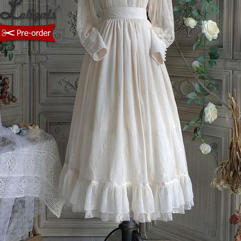 Vintage longue dentelle jupe gothique à volants Maxi jupe noir/blanc par Miss Point ~ sur mesure-in Jupes from Mode Femme et Accessoires    1