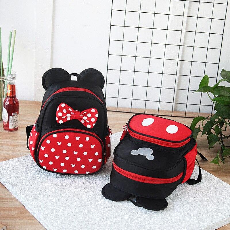 Disney New Kindergarten Schoolbag Boys Girls Cartoon Minnie Mickey Kids Preschool Children's Baby Backpack
