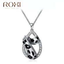 ROXI Necklace Women Rose Gold Plated Leopard Spots Water Drop Pendant Christmas Gifts Cool Necklace feminino