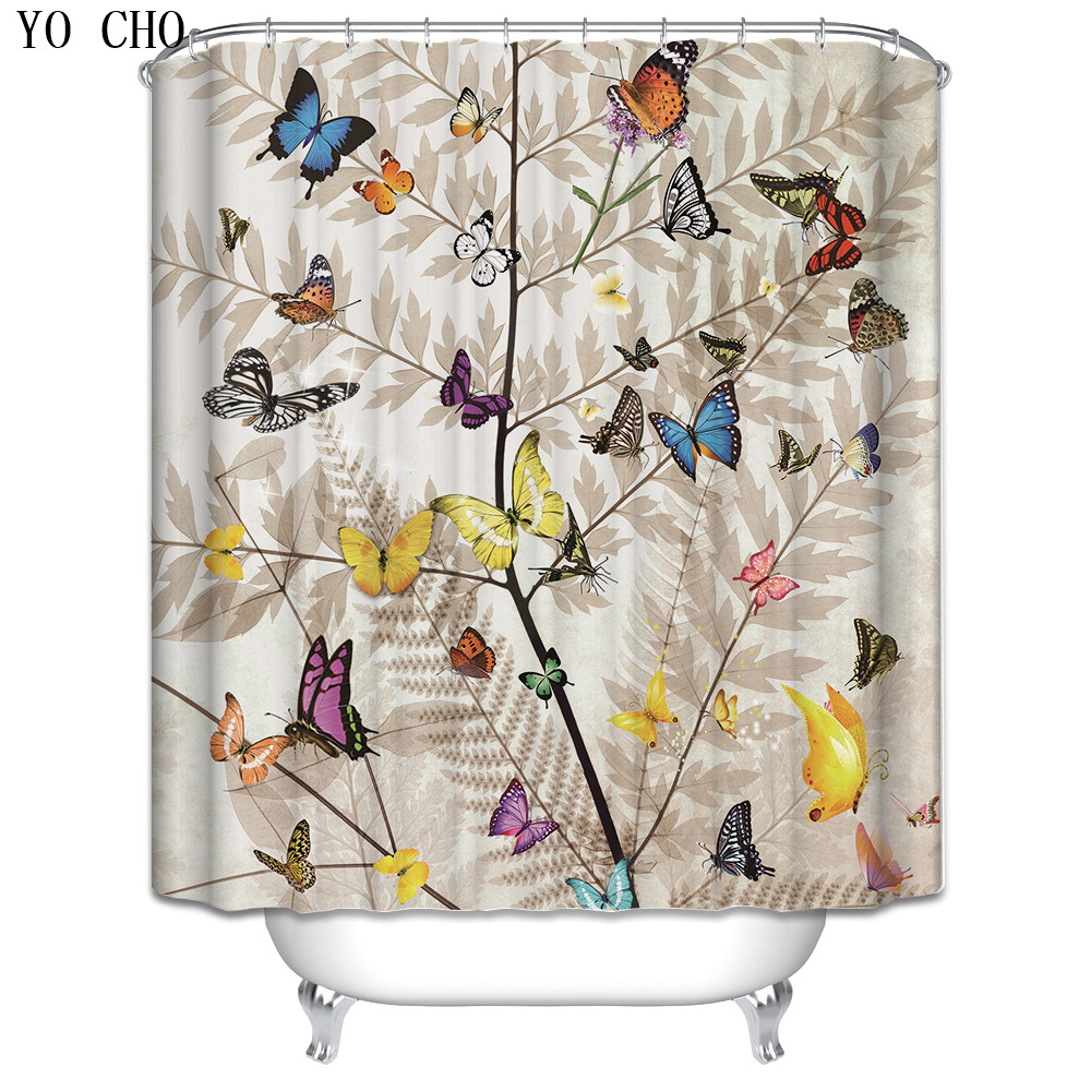 3d Butterfly Shower Curtain Set Waterproof Creative Bathroom Product Decor Fabric Washable Tree Christmas Bath Curtain