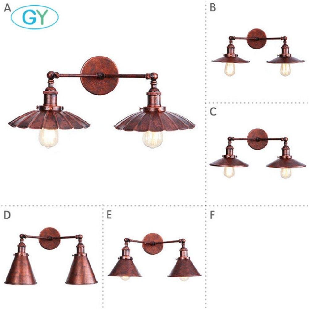 Rustic 2 light Wall Lamp Industrial Edison Antique Metal ...