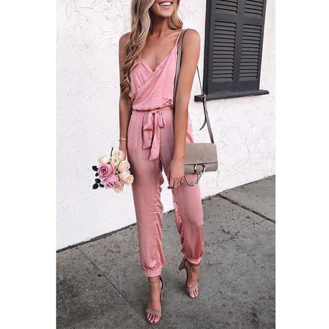Sexy różowy Spaghetti pasy pas regularne kombinezon moda kobiety solidna dekolt w serek bandaża sukni bez ramiączek potargane bez rękawów długie kombinezony