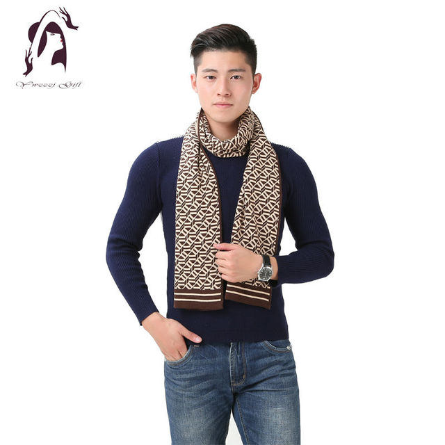 [YWJUNFU] 2016 Classic Hombres de La Marca Bufanda de Invierno Masculina de Lana Cálido Chal Bufandas Cachemira Largas Diseñador Hombre de Negocios Wrap YJF004