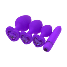 Silicone Anal Plug For Women Purple 10 Vibration Mode G-Spot Vibrator Butt Bead Sex Toys Products Men Gay Beads