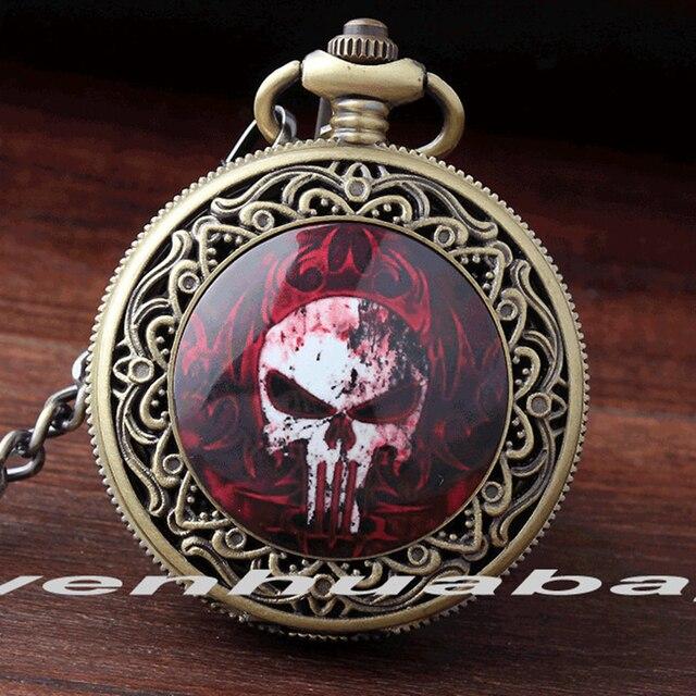 2017 Cool Design Bronze Quartz Men Watches Red Fire Skull Head Pocket Watch Men'