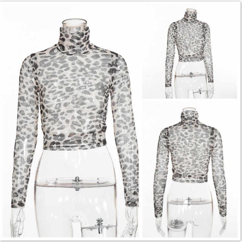 long sleeve crop top t shirt women 2019 summer high neck sheer top plus size fashions leopard print see through mesh shirt T3183