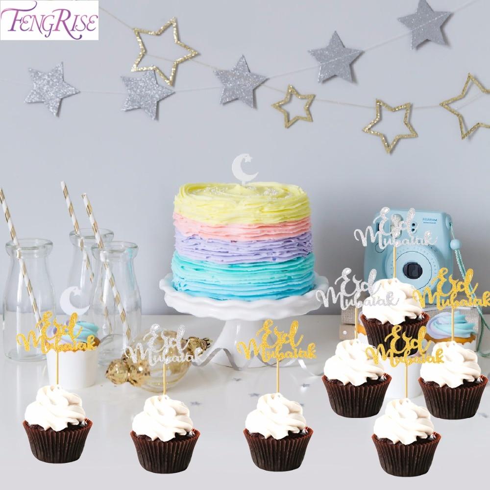 20 Wonderful Eid Mubarak Ideas: FENGRISE 20pc EID Mubarak Cake Topper Gold Silver Ramadan