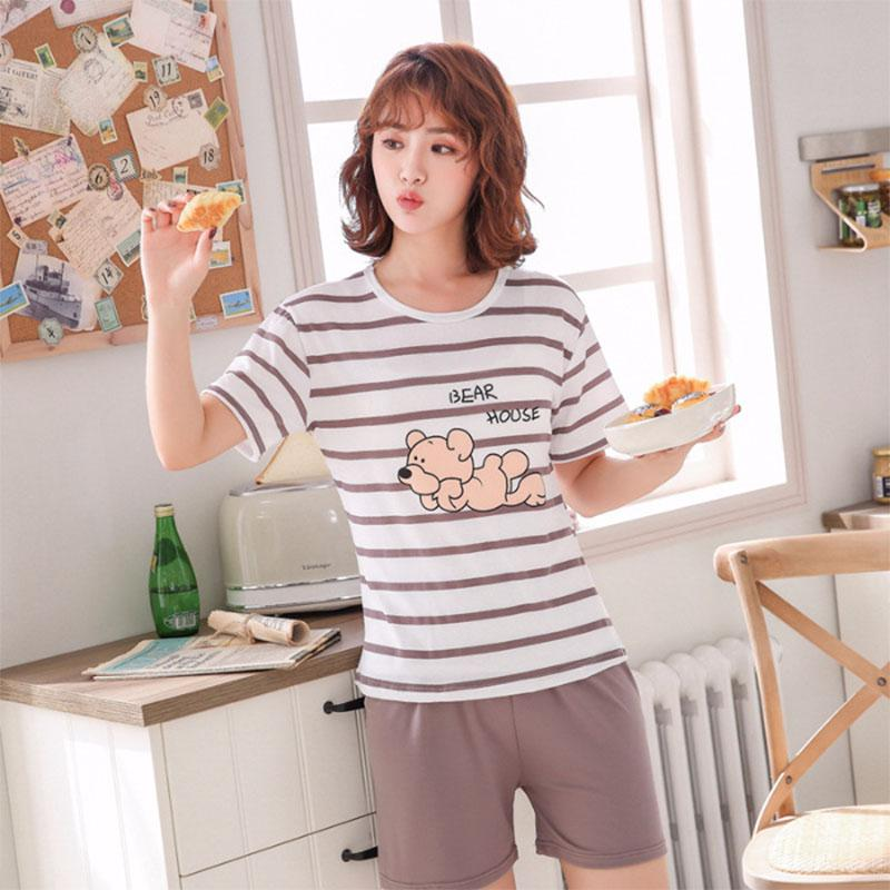 MISSKY Men Women Summer   Pajama     Set   Cartoon Printing Fashion Casual Home Wear   Set   Female Lovers Sleep Wear