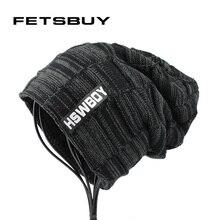 [FETSBUY] Mens hat winter skullies knitted wool hat plus velvet hip hop cap gorro thicker bonnet beanie for men hats touca 18002