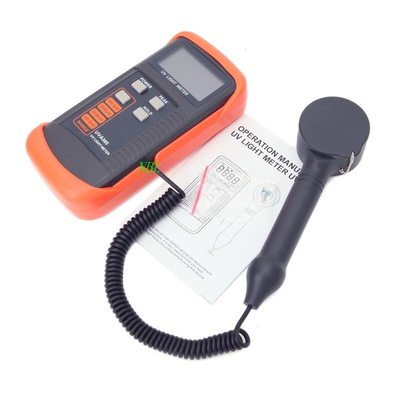 400 m W/cm UV Light Meter UVA et UVB LSI-circuit Testeur Données Peak Hold UV Capteur lumière Correction Filtre UV Rayonnement Testeur UVA365