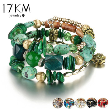 17KM Brand Woman Boho Multilayer Beads Charm Bracelets for Women Vintage Resin Stone Bracelets Bangles Pulseras