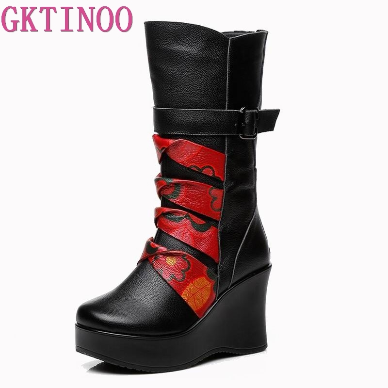 GKTINOO New Fashion Genuine Leather Women s Boots Mid Calf Winter Warm Shoes Casual Women Wedges