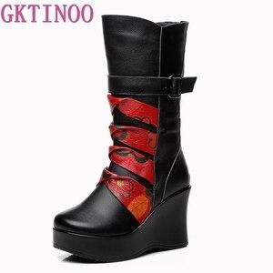 Image 2 - GKTINOO Botas de piel auténtica para mujer, zapatos cálidos de media caña, informales, con cuña, botas de moto para mujer