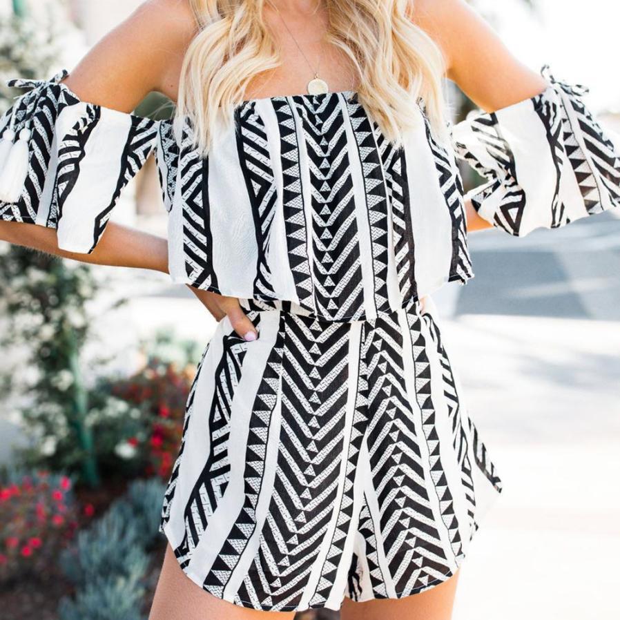 New Summer rompers womens jumpsuit 2Pcs Printing Top&Pants Set Mini Playsuit Ladies Jumpsuit jumpsuits elegant for womens #TH