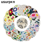 [usurpon]10 pcs Printed pul fabric washable nursing breast pads for mom organic bamboo absorbent mommy nursing pads