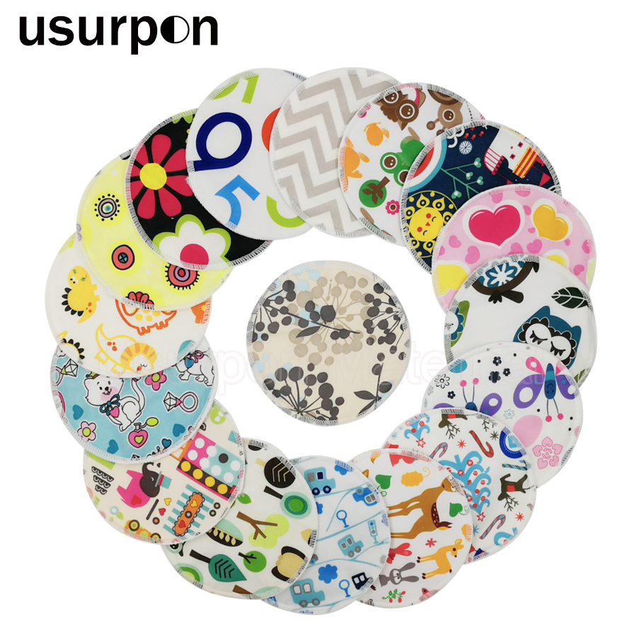 [usurpon]10 pcs Printed pul fabric washable nursing breast pads for mom organic bamboo absorbent mommy nursing pads bamboo forest printed waterproof fabric shower curtain