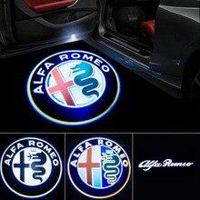 2 pçs nova moda led porta do carro luz de boas vindas logo projetor para alfa romeo giulia giulietta mito stelvio brera 147 156 159