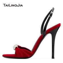 Beludru Merah Diikat Tinggi Sandal Tumit Kristal Hitam Elegan Gaun Wanita  Malam Sepatu Wanita Musim Panas def776c23f