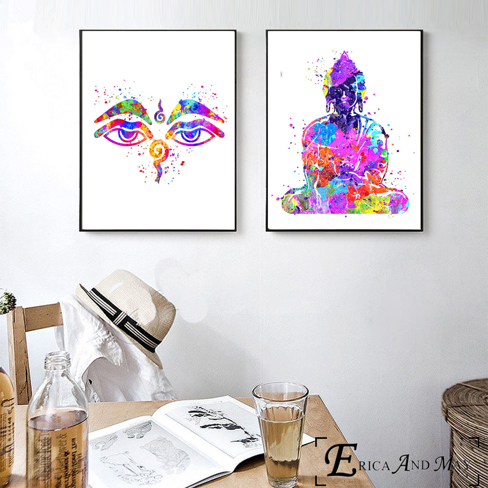 Buddha Abstract Watercolor Canvas Painting Posters And Prints For Living Room No Framed Wall Art Picture Home Decor On Sale