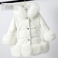 Kids girl's PU leather patchwork fox faux fur collar jacket coat down parkas thicken coat princess winter outerwear fur coat