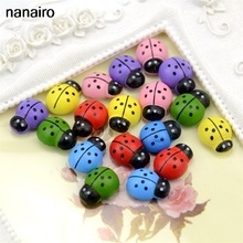 New 20Pcs Wooden Ladybug Children #8217 s Cognitive Toys Christmas Wall Stickers DIY Process Accessories Family Holiday Decorations cheap Nanairo Multi-piece Package 3D Sticker Europe For Wall Furniture Stickers Floor Stickers For Tile For Smoke Exhaust Window Stickers